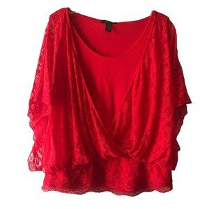 Red Short Sleeve Lace Layered Top Plus Size XL 16